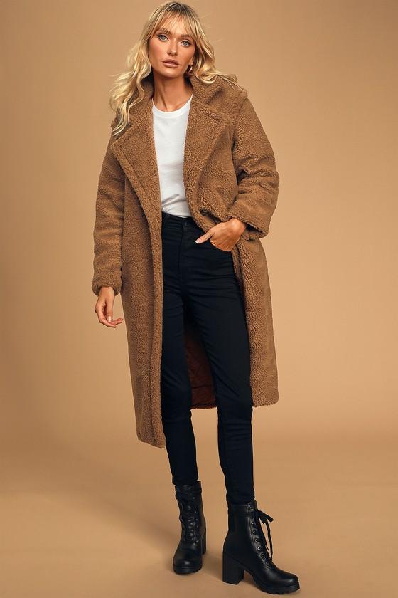 70s Jackets, Furs, Vests, Ponchos Paddington Brown Longline Teddy Coat  Lulus $168.00 AT vintagedancer.com