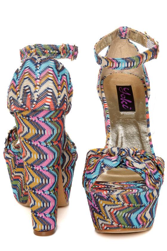 Yoki Lika Blue Multi Woven Zig-Zag Platform Sandals at Lulus.com!
