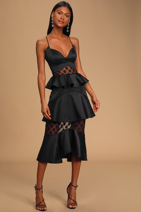 ELLIAT Aleko Black Satin Tiered Midi Dress