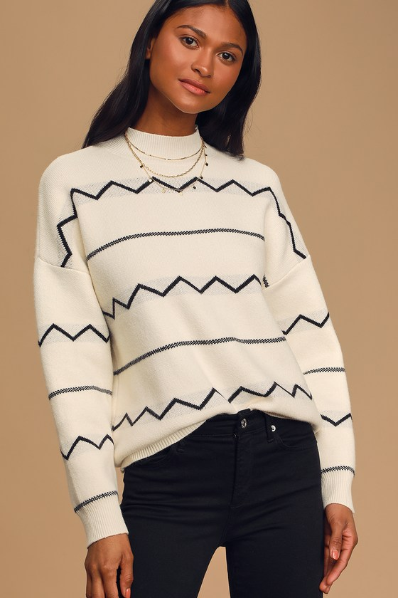 Lost + Wander Bonfire Black and White Knit Pullover Sweater