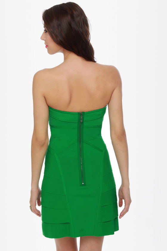 Supersonic Strapless Green Dress at Lulus.com!