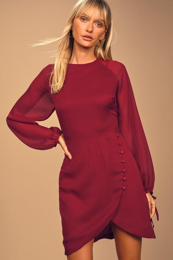 Heartfelt Moments Wine Red Asymmetrical Mini Dress