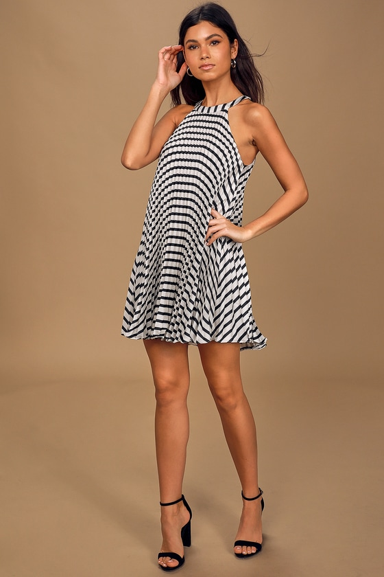 Dance It Out White Striped Pleated Halter Mini Shift Dress