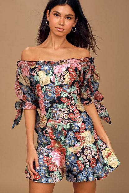 Keepsake Runaway Black Multi Floral Print Off-the-Shoulder Mini Dress