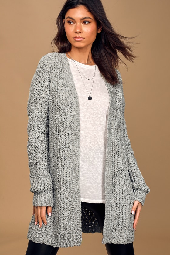 Take it There Dusty Blue Loose Knit Cardigan Sweater