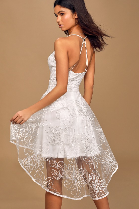 Fleur-ever With You White Sequin High-Low Skater Dress