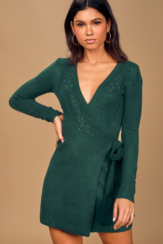 Memory Making Forest Green Embroidered Wrap Sweater Dress