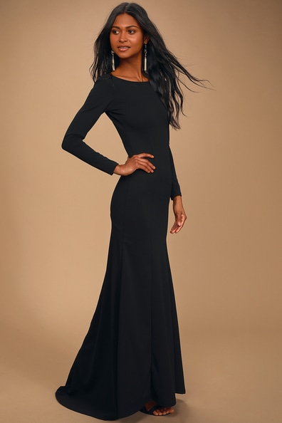 Wait For Me Black Long Sleeve Maxi Dress