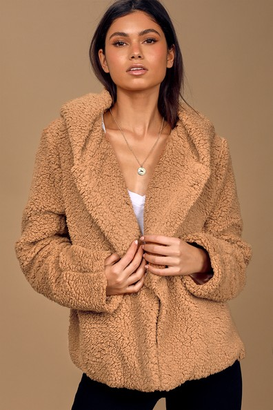 Snuggly Situation Tan Hooded Teddy Coat