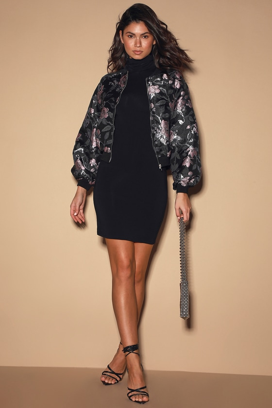 Going All In Black Floral Print Jacquard Bomber Jacket