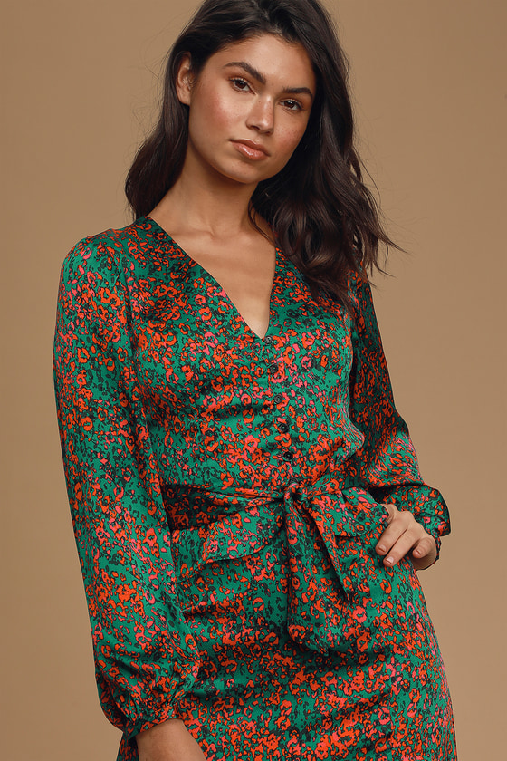 Lost + Wander Sparkler Emerald Green Multi Print Long Sleeve Button-Up Top