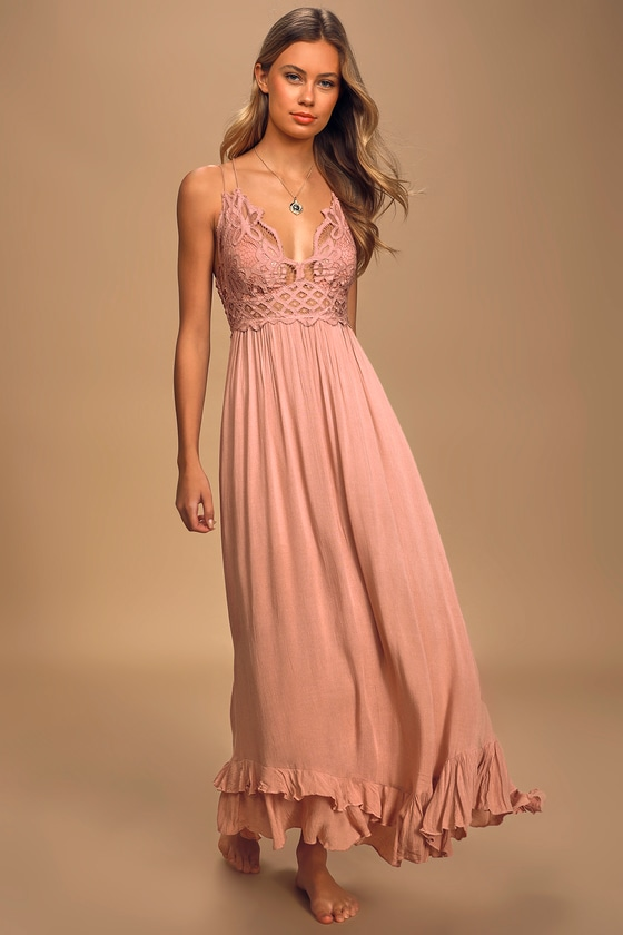 Free People Adella Maxi Slip Rose Pink Lace Dress