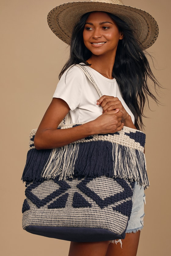 Just Beachy Navy Blue and Beige Fringe Tote Bag