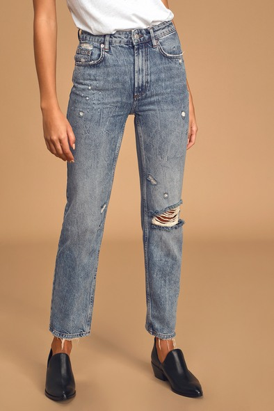 Free People Dakota Medium Wash High-Rise Straight-Leg Distressed Jeans
