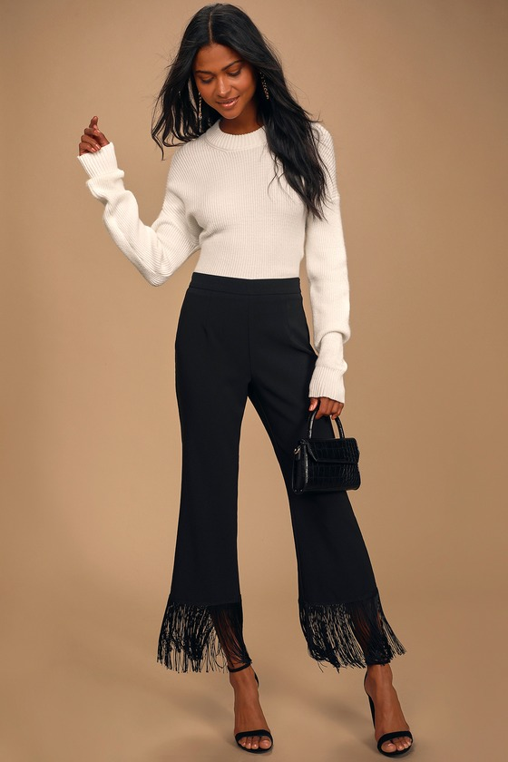 Catch a Crush Black Fringe Cropped Pants
