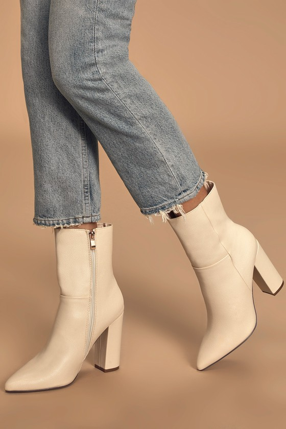 Chic Ivory Boots - Mid-Calf Boots - Off