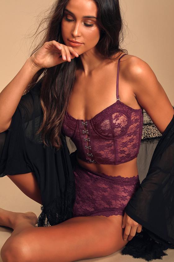 Love Me Always Plum Purple Lace Underwire Bralette