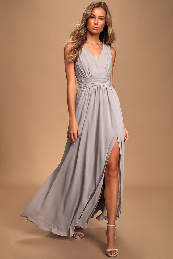 Thoughts of Hue Light Grey Surplice Maxi Dress - Lulus