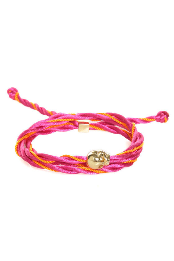 Skull's Out for Summer Pink and Orange Friendship Bracelet at Lulus.com!