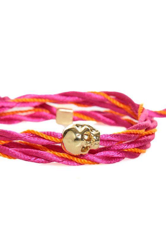 Skull\\\'s Out for Summer Pink and Orange Friendship Bracelet