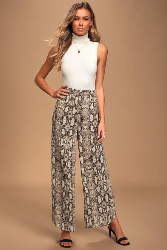 Image of It Girl Tan Multi Snake Print Trouser Pants - Lulus