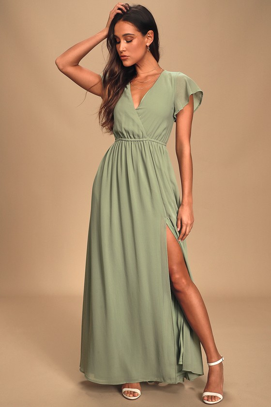Lost in the Moment Sage Brush Maxi Dress