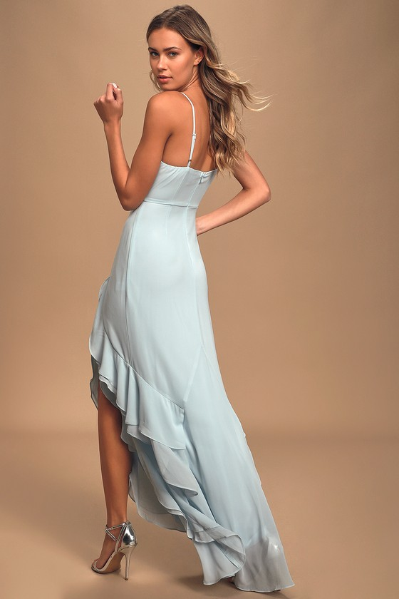 Esther Ice Blue Ruffled Sleeveless Maxi Dress