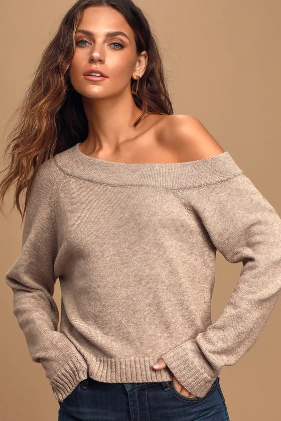 Lulus Exclusive! Don\'t be afraid to show a little skin in the Lulus Don\'t Be Shy Heather Beige Asymmetrical Off-the-Shoulder Sweater! Soft stretch knit shapes this super cute sweater that has an asymmetrical, off-the-shoulder neckline, long raglan sleeves, and a boxy bodice with slightly cropped hem. Contrasting ribbed knit accents the cuffs and hem. Fit: This garment fits true to size. Length: Size small measures 21\
