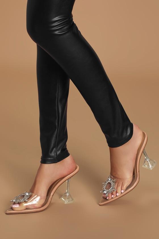 Rhinestone Heels - Beige Heels - Clear