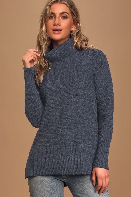 Cozy Fantasy Washed Navy Blue Ribbed Turtleneck Sweater