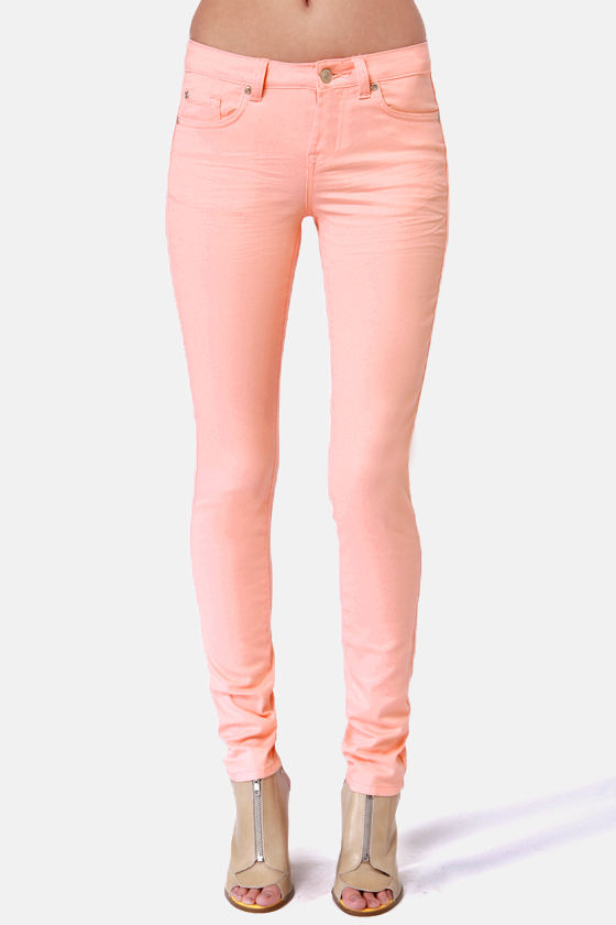 Moves Like Jagger Peach Jeggings at Lulus.com!