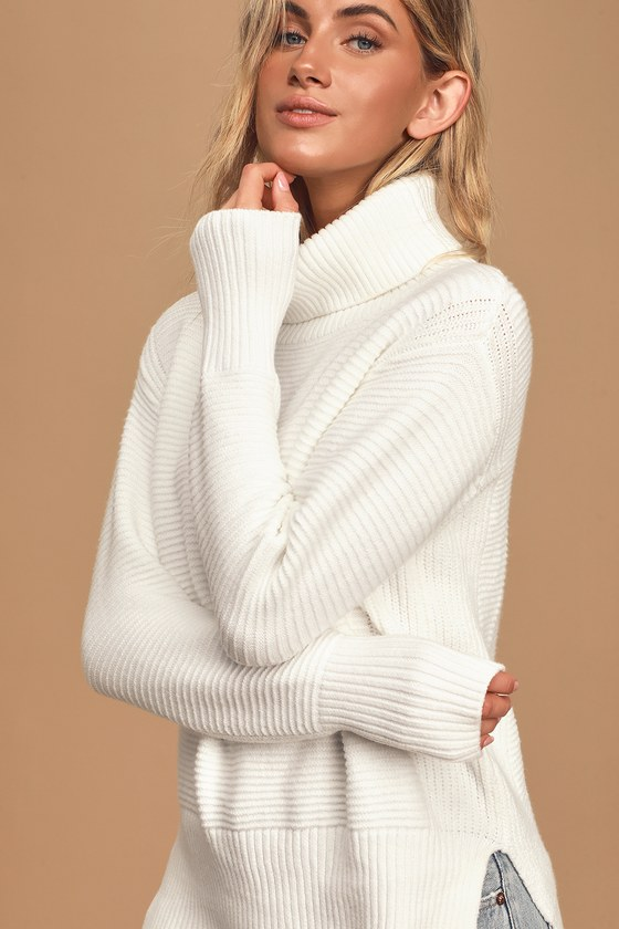 Cozy Fantasy White Ribbed Turtleneck Sweater