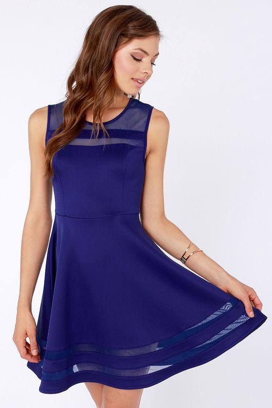 07b676abcf5 Unique Royal Blue Dress - Mesh Dress - Striped Dress -  44.00