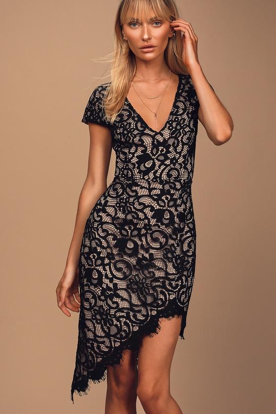 Vintage 1920s Dresses – Where to Buy Romantic Rendezvous Black Lace Asymmetrical Midi Dress - Lulus $69.00 AT vintagedancer.com