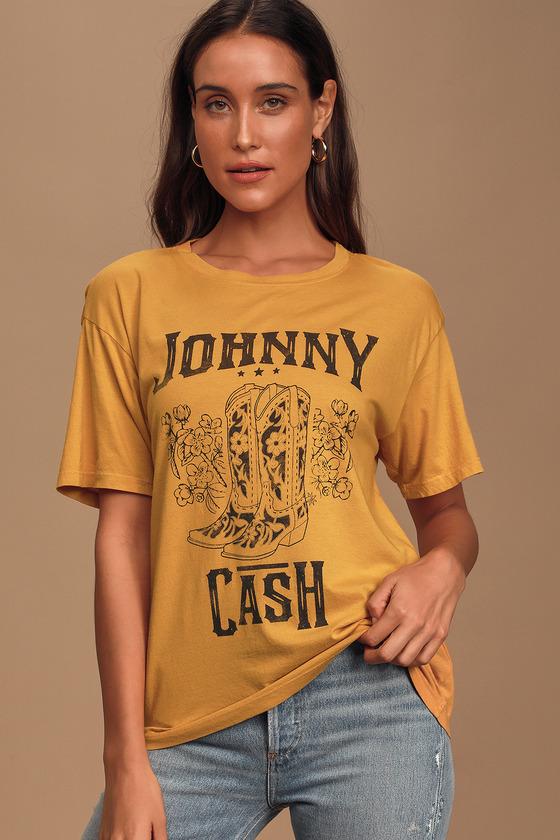 Daydreamer Johnny Cash Boots Mustard Yellow Graphic Boyfriend Tee Shirt