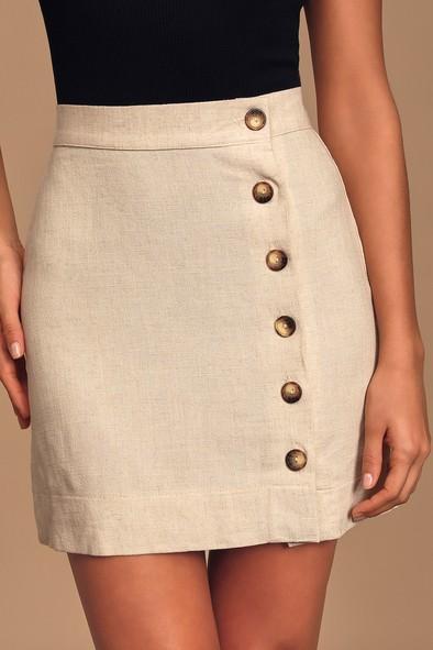 Andrews Cream Button Front Mini Skirt