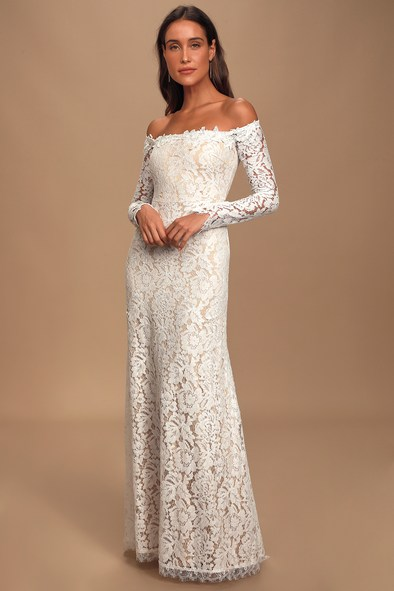Romance Dreamer White Lace Off-the-Shoulder Maxi Dress