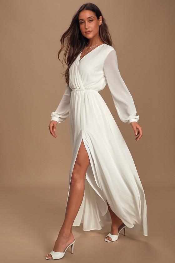 60s Wedding Dresses | 70s Wedding Dresses Wondrous Water Lilies White Maxi Dress - Lulus $69.00 AT vintagedancer.com