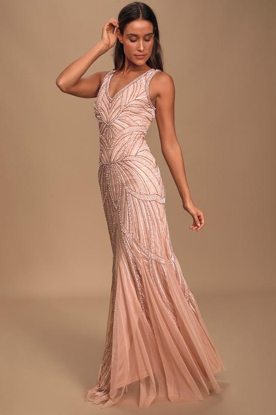 Vintage 1920s Dresses – Where to Buy Make Them Marvel Blush Pink Beaded Mermaid Maxi Dress - Lulus $165.00 AT vintagedancer.com