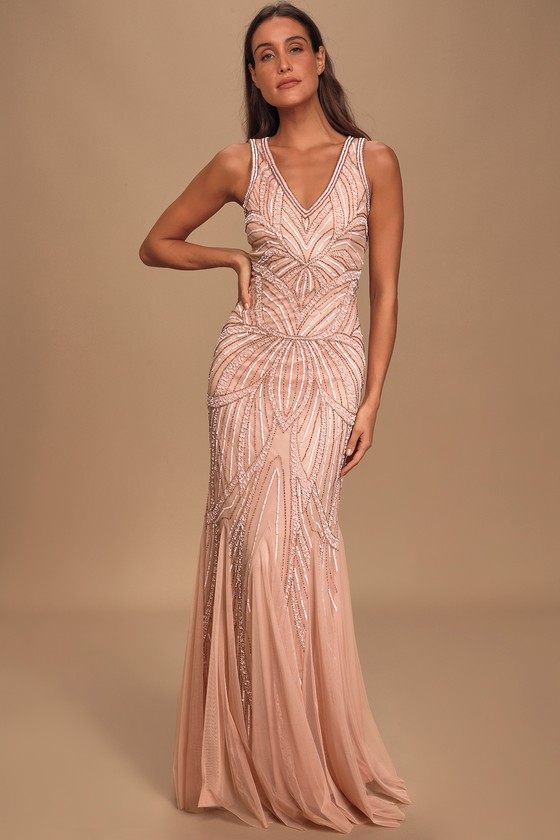 1930s Outfit Ideas for Women Make Them Marvel Blush Pink Beaded Mermaid Maxi Dress - Lulus $165.00 AT vintagedancer.com