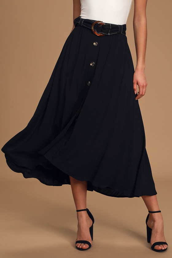 Twirl and Flow Black Belted High-Low Maxi Skirt