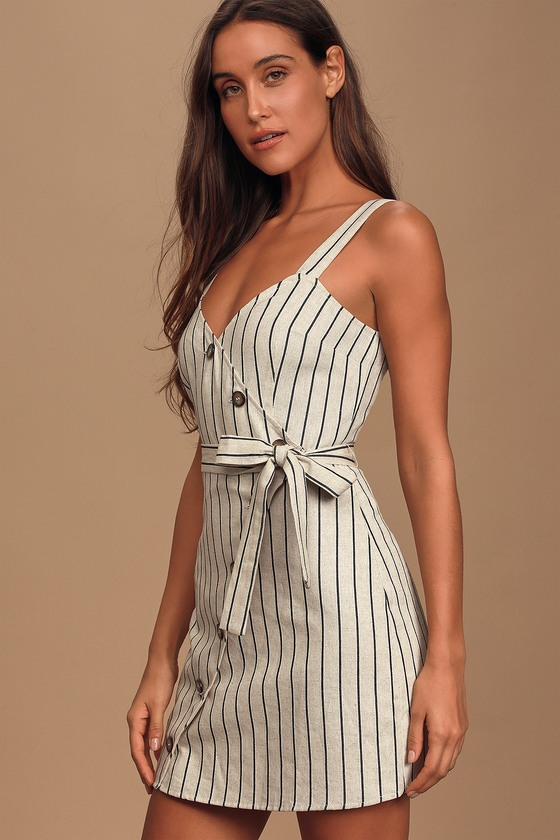 All I Wanted Beige Striped Button Front Mini Dress