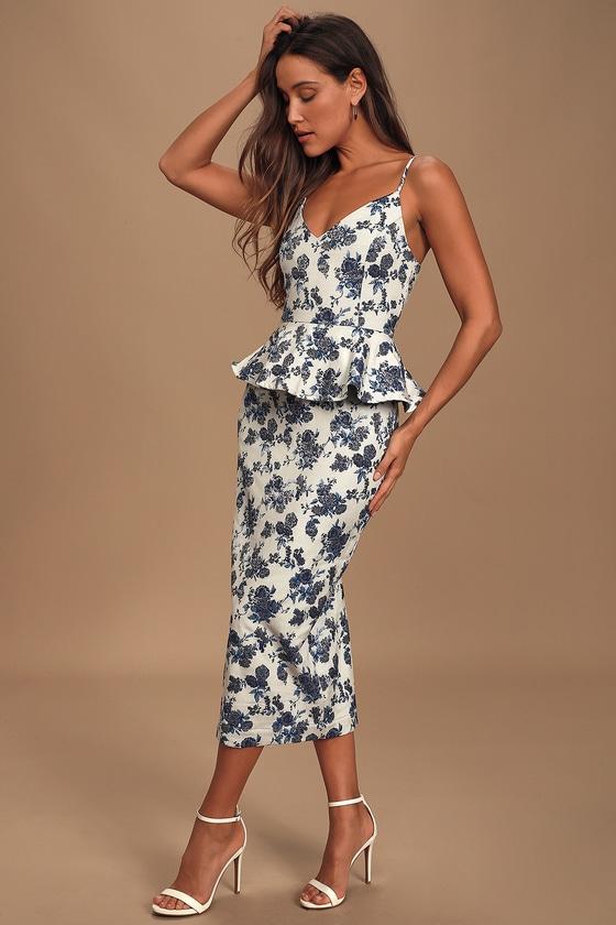 En Saison A Sight To See Navy Blue Floral Print Jacquard Peplum Midi Dress