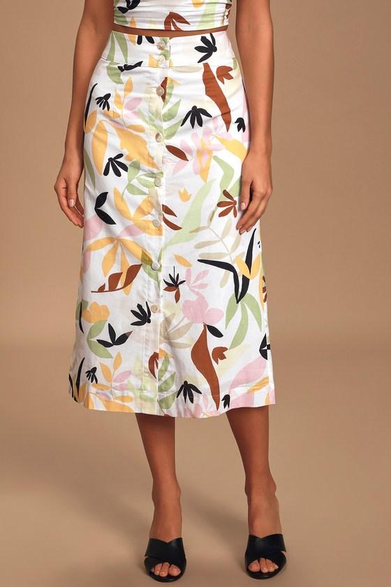 Charlie Holiday Palma White Multi Tropical Print Button Front Midi Skirt