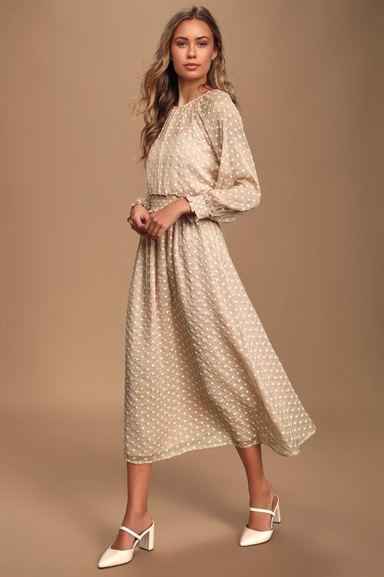 70s Dresses – Disco Dress, Hippie Dress, Wrap Dress Such A Wildflower Blush Embroidered Floral Midi Dress - Lulus $85.00 AT vintagedancer.com