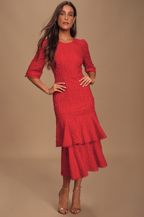 Vintage 1920s Dresses – Where to Buy By The Vineyard Red Embroidered Ruffled Midi Dress - Lulus $89.00 AT vintagedancer.com
