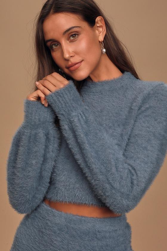 Feeling Fuzzy Dusty Blue Eyelash Knit Cropped Sweater