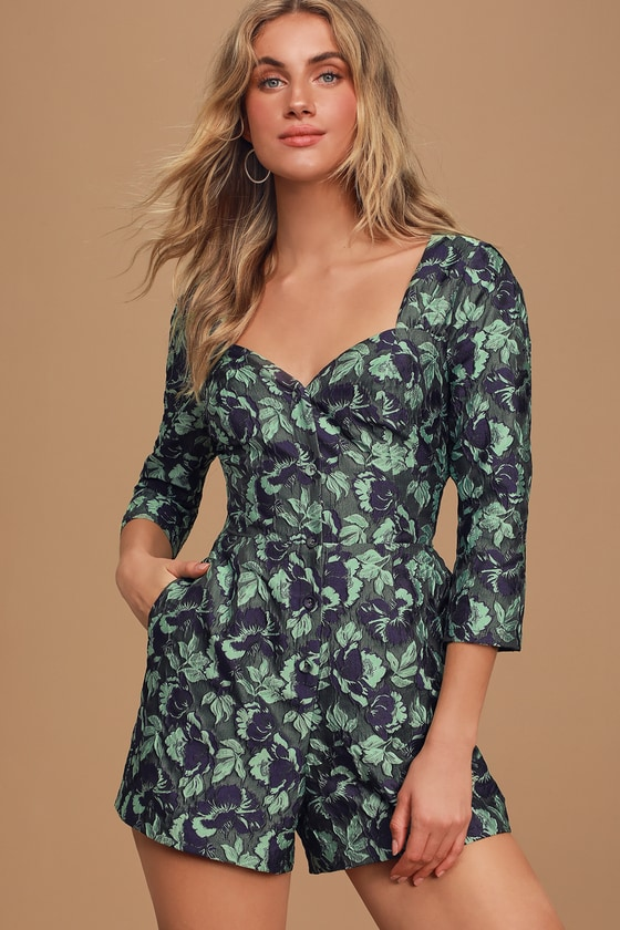 Better Off Green Multi Floral Print Jacquard Button-Up Romper