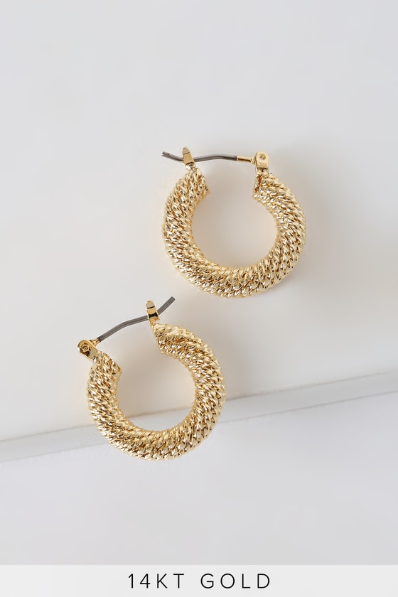 60s -70s Jewelry – Necklaces, Earrings, Rings, Bracelets Daniella 14k Gold Mini Hoop Earrings - Lulus $32.00 AT vintagedancer.com