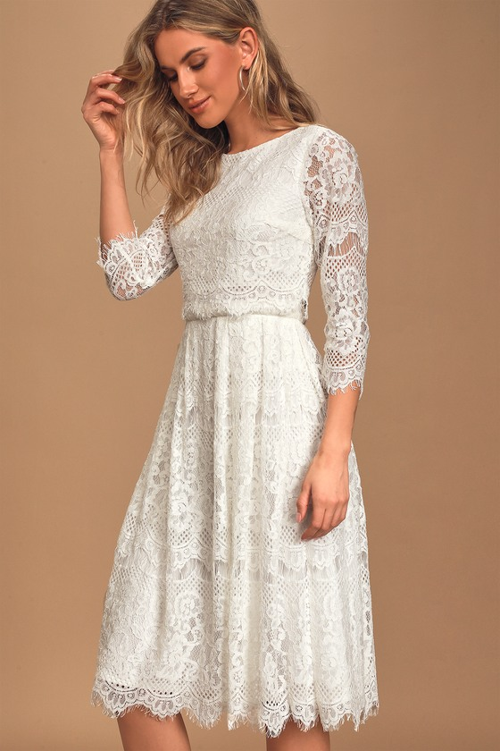 1920s Day Dresses, Tea Dresses, Mature Dresses with Sleeves Forever Your Love White Lace Three-Quarter Sleeve Midi Dress - Lulus $85.00 AT vintagedancer.com